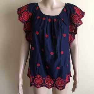 Gap XS Navy Blue Red Embroidered Blouse Sheer